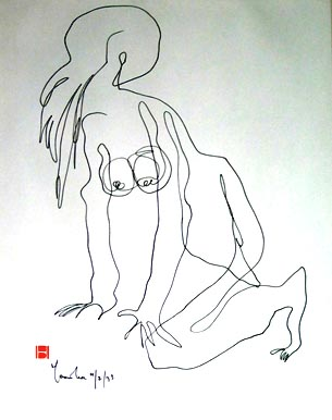 Blind Drawing of a Nude Figure]